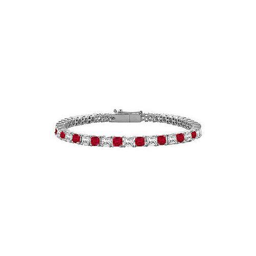 18K White Gold : Princess Cut Ruby & Diamond Tennis Bracelet 4.00 CT TGW