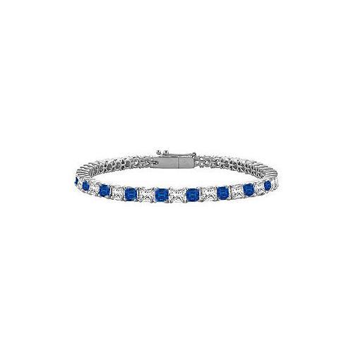 18K White Gold : Princess Cut Blue Sapphire & Diamond Tennis Bracelet 4.00 CT TGW