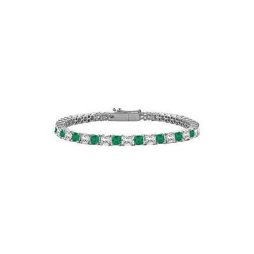 18K White Gold : Princess Cut Emerald & Diamond Tennis Bracelet 5.00 CT TGW