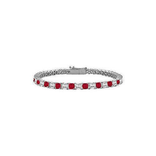 18K White Gold : Princess Cut Ruby & Diamond Tennis Bracelet 5.00 CT TGW