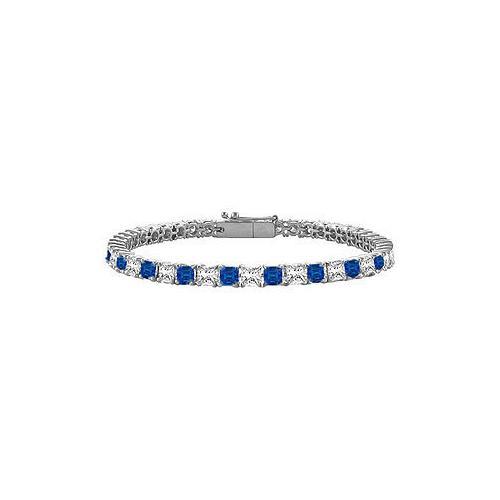 18K White Gold : Princess Cut Blue Sapphire & Diamond Tennis Bracelet 5.00 CT TGW