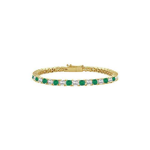 18K Yellow Gold : Princess Cut Emerald & Diamond Tennis Bracelet 2.00 CT TGW