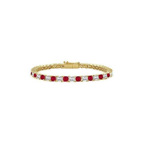 18K Yellow Gold : Princess Cut Ruby & Diamond Tennis Bracelet 2.00 CT TGW