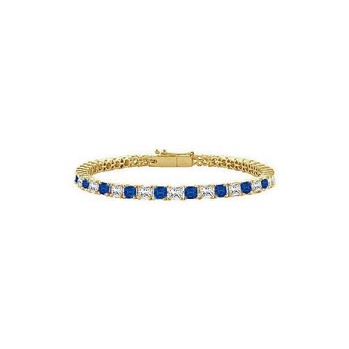 18K Yellow Gold : Princess Cut Blue Sapphire & Diamond Tennis Bracelet 2.00 CT TGW