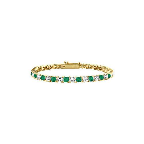 18K Yellow Gold : Princess Cut Emerald & Diamond Tennis Bracelet 3.00 CT TGW