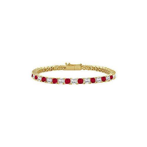 18K Yellow Gold : Princess Cut Ruby & Diamond Tennis Bracelet 3.00 CT TGW
