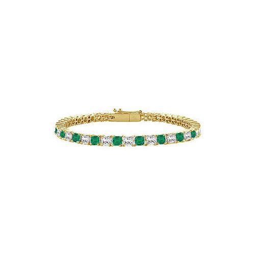 18K Yellow Gold : Princess Cut Emerald & Diamond Tennis Bracelet 4.00 CT TGW