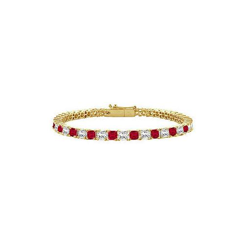 18K Yellow Gold : Princess Cut Ruby & Diamond Tennis Bracelet 4.00 CT TGW