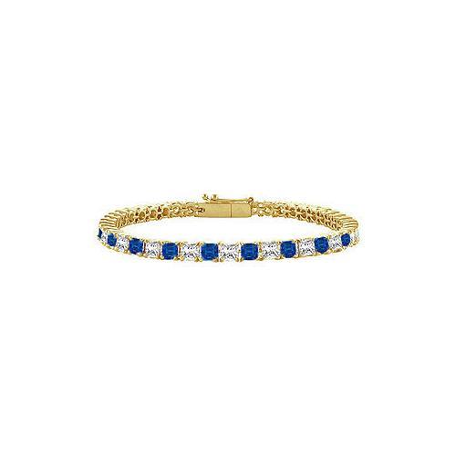 18K Yellow Gold : Princess Cut Blue Sapphire & Diamond Tennis Bracelet 4.00 CT TGW