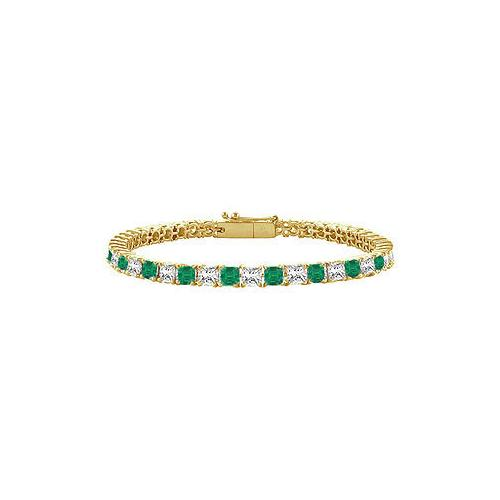 18K Yellow Gold : Princess Cut Emerald & Diamond Tennis Bracelet 5.00 CT TGW