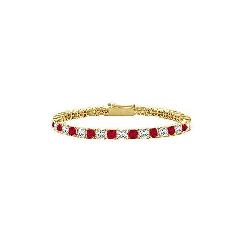 18K Yellow Gold : Princess Cut Ruby & Diamond Tennis Bracelet 5.00 CT TGW