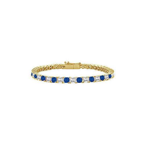 18K Yellow Gold : Princess Cut Blue Sapphire & Diamond Tennis Bracelet 5.00 CT TGW