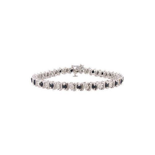 Blue Sapphire and Diamond Bracelet : 10K White Gold - 3.00 CT TGW