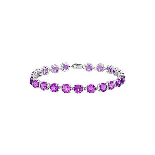14K White Gold Prong Set Round Amethyst Bracelet with 12.00 CT TGW
