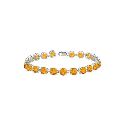 14K White Gold Prong Set Round Citrine Bracelet with 12.00 CT TGW