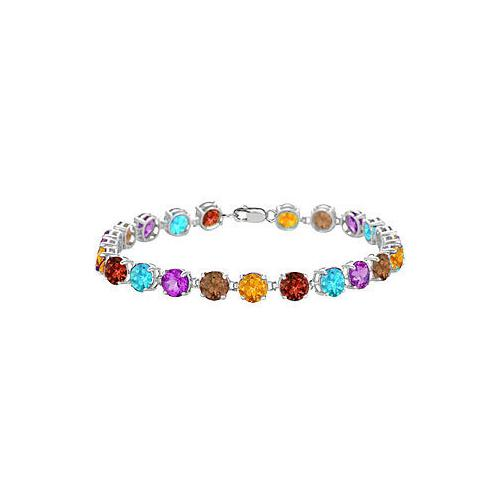 14K White Gold Prong Set Round Multi Color Gemstone Bracelet with 12.00 CT TGW