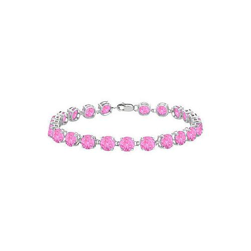 14K White Gold Prong Set Round Pink Topaz Bracelet with 12.00 CT TGW