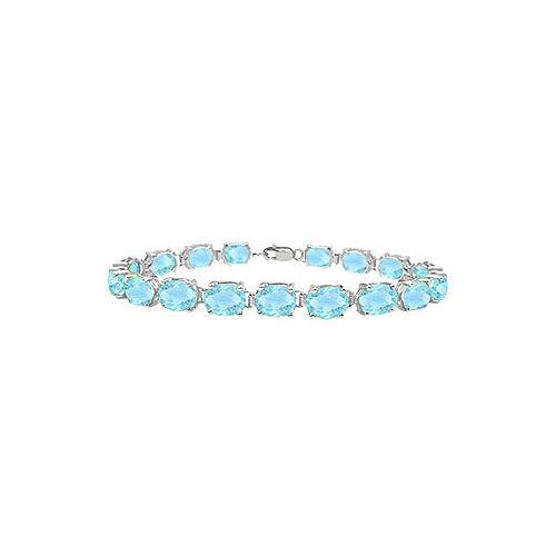 14K White Gold Prong Set Oval Aquamarine Bracelet with 15.00 CT TGW