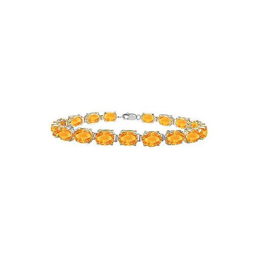 14K White Gold Prong Set Oval Citrine Bracelet with 15.00 CT TGW