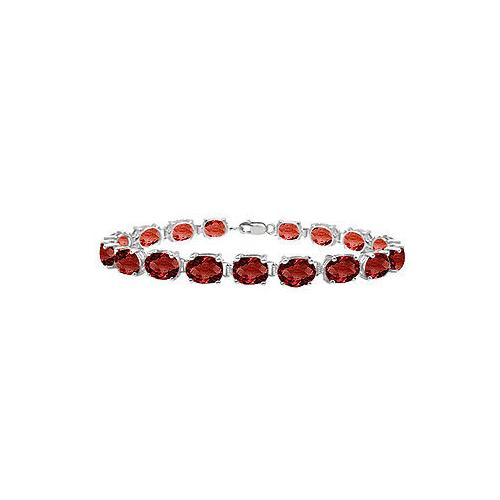 14K White Gold Prong Set Oval Garnet Bracelet with 15.00 CT TGW