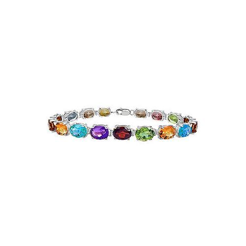14K White Gold Prong Set Oval Multi Color Gemstone Bracelet with 15.00 CT TGW