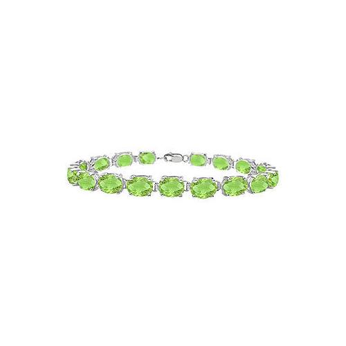 14K White Gold Prong Set Oval Peridot Bracelet with 15.00 CT TGW
