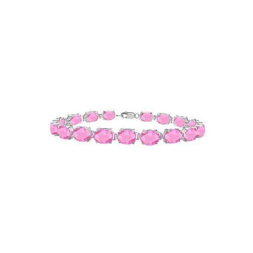 14K White Gold Prong Set Oval Pink Topaz Bracelet with 15.00 CT TGW
