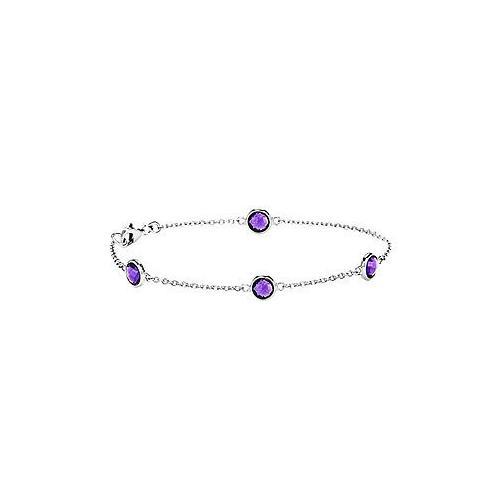 Amethyst Bracelet : .925 Sterling Silver - 2.00 CT TGW