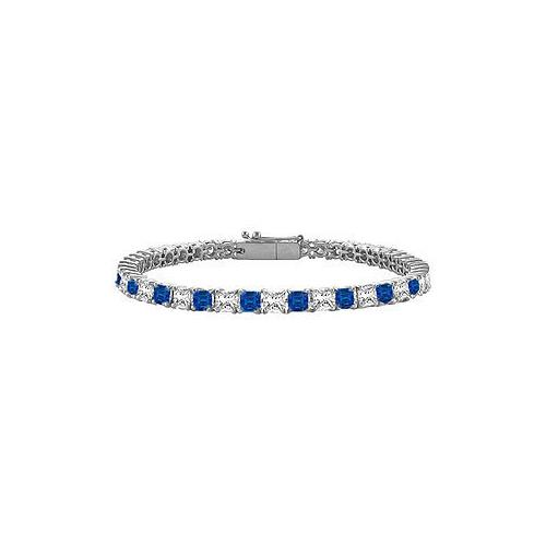 Blue Sapphire & Diamond Princess Cut Platinum Tennis Bracelet 5.00 CT TGW