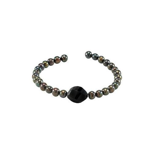 Black Agate & Cultured Freshwater Pearl Cuff 7.5 Inch Bracelet - .925 Sterling Silver