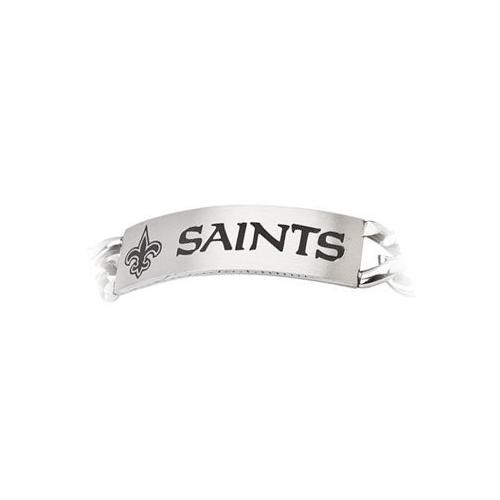 Stainless Steel New Orleans Saints Team Name and Logo ID Bracelet