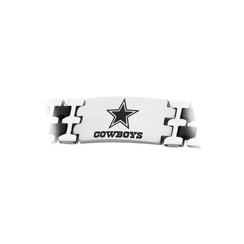 Stainless Steel and Rubber Dallas Cowboys Team Logo Bracelet - 8 Inch