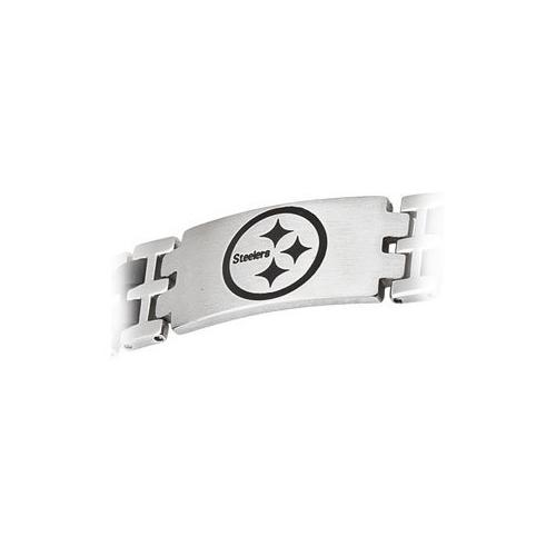 Stainless Steel and Rubber Pittsburgh Steelers Team Logo Bracelet - 8 Inch