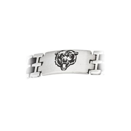 Stainless Steel and Rubber Chicago Bears Team Logo Bracelet - 8 Inch