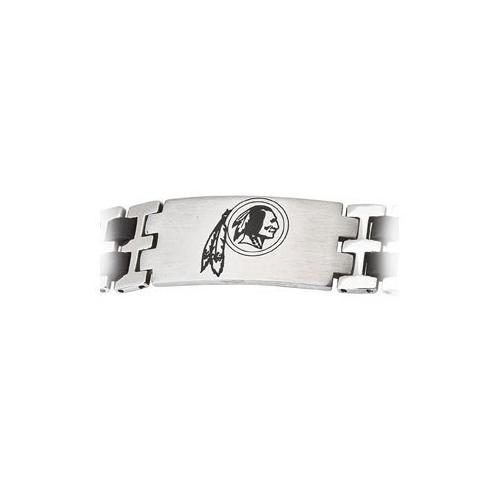 Stainless Steel and Rubber Washington Redskins Team Logo Bracelet - 8 Inch