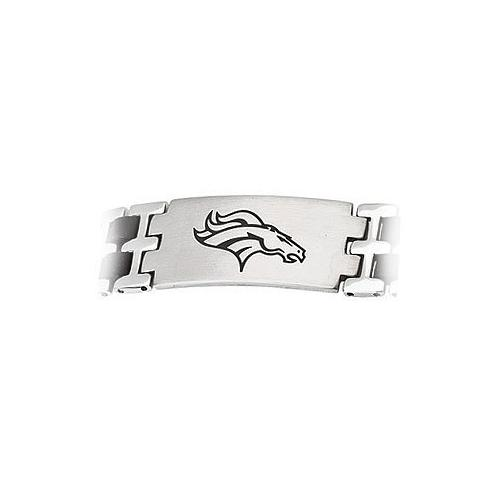 Stainless Steel and Rubber Denver Broncos Team Logo Bracelet - 8 Inch