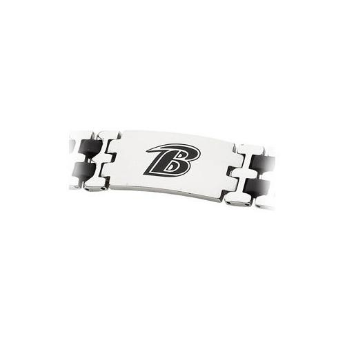 Stainless Steel and Rubber Baltimore Ravens Team Logo Bracelet - 8 Inch