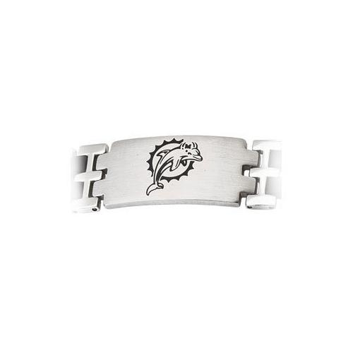 Stainless Steel and Rubber Miami Dolphins Team Logo Bracelet - 8 Inch