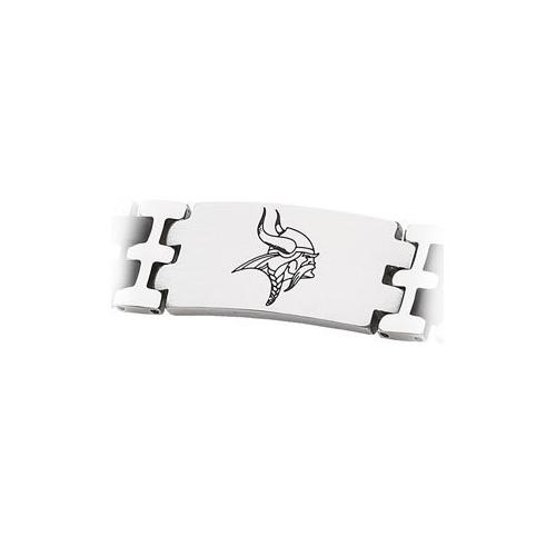 Stainless Steel and Rubber Minnesota Vikings Team Logo Bracelet - 8 Inch
