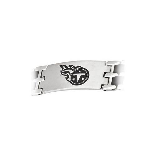 Stainless Steel and Rubber Tennessee Titans Team Logo Bracelet - 8 Inch