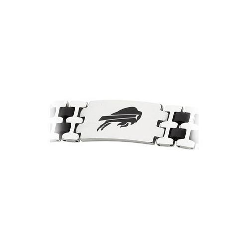 Stainless Steel and Rubber Buffalo Bills Team Logo Bracelet - 8 Inch