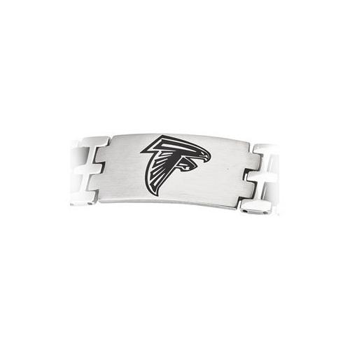 Stainless Steel and Rubber Atlanta Falcons Team Logo Bracelet - 8 Inch