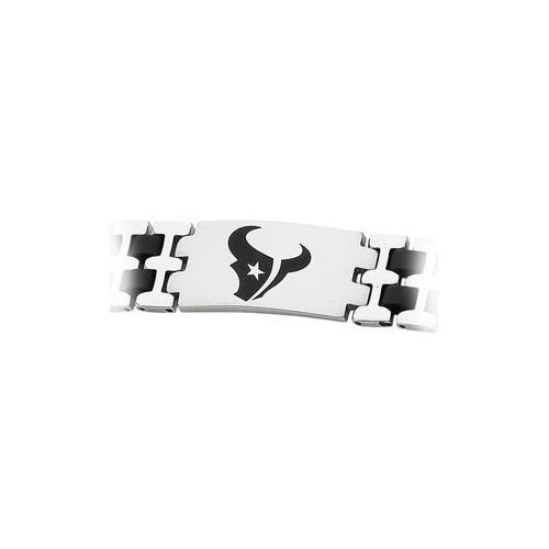 Stainless Steel and Rubber Houston Texans Team Logo Bracelet - 8 Inch
