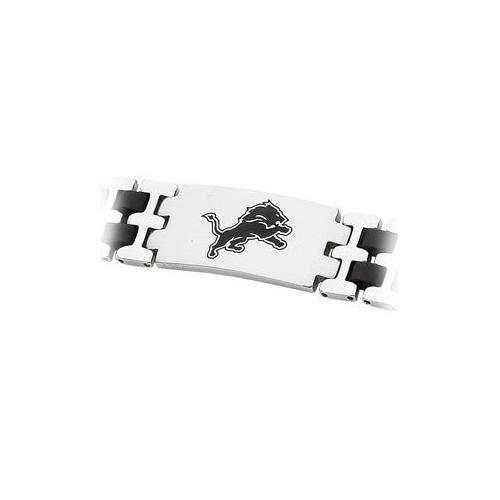 Stainless Steel and Rubber Detroit Lions Team Logo Bracelet - 8 Inch