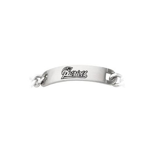 Stainless Steel New England Patriots Team Name and Logo ID Bracelet - 8 Inch