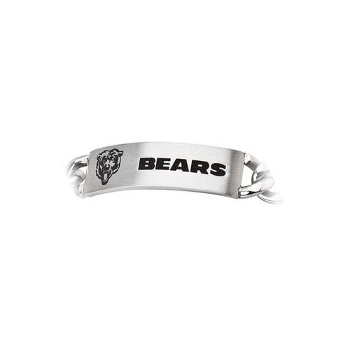 Stainless Steel Chicago Bears Team Name and Logo ID Bracelet - 8 Inch