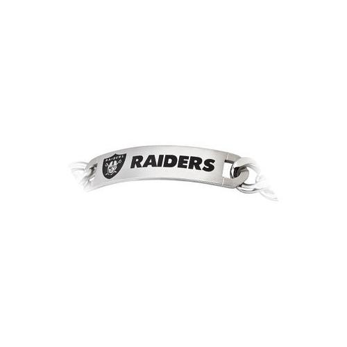 Stainless Steel Oakland Raiders Team Name and Logo ID Bracelet - 8 Inch