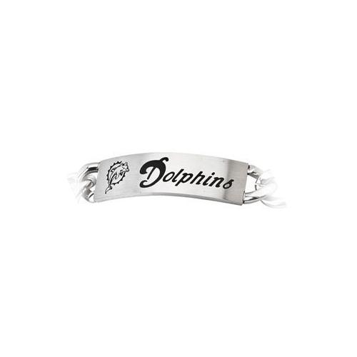 Stainless Steel Miami Dolphins Team Name and Logo ID Bracelet - 8 Inch
