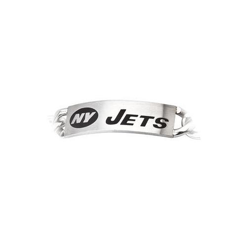 Stainless Steel New York Jets Team Name and Logo ID Bracelet - 8 Inch