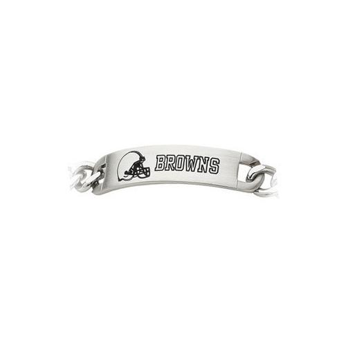 Stainless Steel Cleveland Browns Team Name and Logo ID Bracelet - 8 Inch